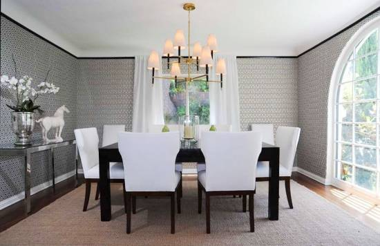 Wall Papered Dining Room Wall Decor - harpmagazine.com