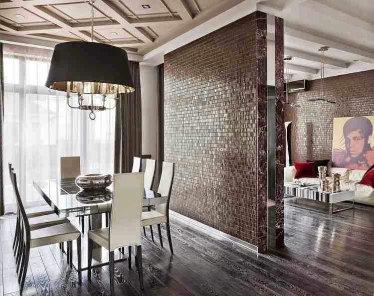 Luxury Dining Room Wall Decor Ideas, Glossy Partition And Wooden Floor - harpmagazine.com